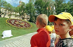 """The opening of the """" flower clock"""" in the Alexander's Garden"""