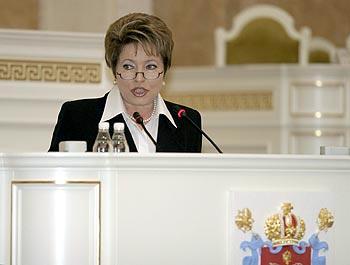 St. Petersburg Governor Valentina Matviyenko