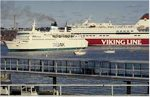 Tallink and Viking Line ferries in Helsinki, Finland.
