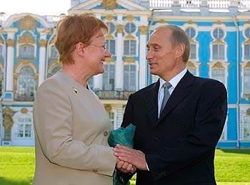 Tarja Halonen and Vladimir Putin