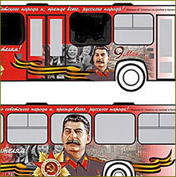 Stalin bus begins driving through St Petersburg