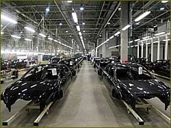The assembly line at Nissan car plant in St. Petersburg