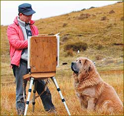 Artist exhibits Tibetan mastiff paintings in Russia