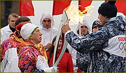 The Olympic flame arrives to St. Petersburg