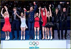 Evgeny Plushenko, Ksenia Stolbova and Fedor Klimov from St. Petersburg – Olympic champions